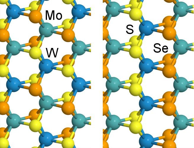 Subtle changes in growth temperature alters the form of a four-component alloy created at Rice University. The alloy can be tuned to alter its optical bandgap, which may be of use in the design of solar cells and light-emitting diodes. @ Alex Kutana/Rice University