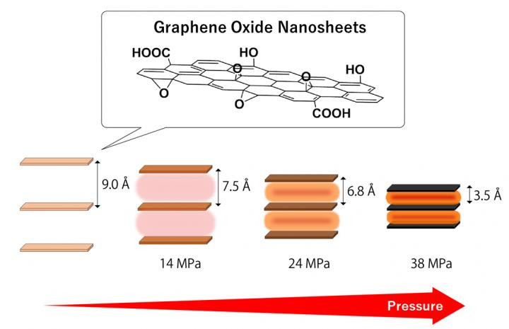 Graphene oxide nanosheets are subjected to very high pressure when the interlayer distance is shortened by heat treatment. The thickness of one nanosheet is around 1 nm. (1 Å = 0.1 nm = 0.0000001 mm) @ Assistant Professor Ryo Ohtani