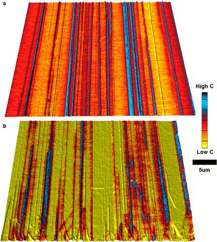 (a, b) MIM capacitance images overlaid on top of AFM 3-D surface topography of an array of CVD grown aligned SWNTs on quartz substrates. Each sample has a 3.5 nm dielectric layer of (a) MgO and (b) SiO2. The impact of the increased ε for MgO is apparent, resulting in improved contrast and uniformity. CREDIT John A. Rogers, Eric Seabron, Scott MacLaren and Xu Xie from the University of Illinois at Urbana-Champaign; Slava V. Rotkin from Lehigh University; and, William L. Wilson from Harvard University