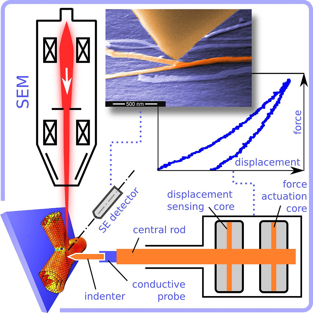 Rice University researchers tested the stiffness of individual nanotube junctions with a combined scanning electron microscope and picoindenter. It allowed them to analyze nanotubes in real time. (Credit: Evgeni Penev/Rice University)