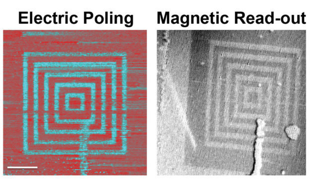 """The researchers use electric fields to create concentric boxes of """"up"""" and """"down"""" ferroelectric polarization (shown left in red and turquoise) in the lutetium ferrite film. They then use photo emission electron microscopy at the Advanced Light Source to read out the magnetic structure from this region, demonstrating that the magnetism directly tracks the ferroelectric structure even though no magnetic fields were applied. The scale bar is 5 microns. (Credit: James Clarkson, Alan Farhan, and Andreas Scholl/Berkeley Lab)"""