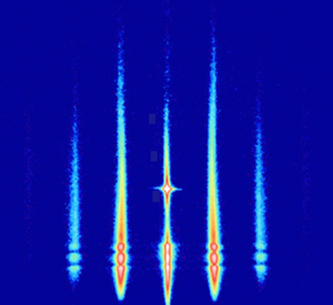Example of an X-ray scattering pattern of a growing nanostructure, recorded at beamline P01 at PETRA III. Credit: Kai Schlage, DESY