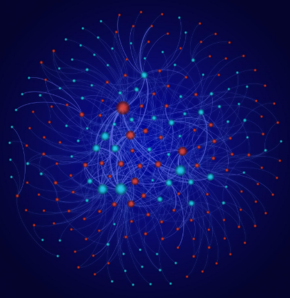 The researchers evaluated the experimental data published in the scientific literature using a network analysis. This analysis reveals which types of nanoparticles (blue) have been studied under which environmental conditions (red). @ Thomas Kast