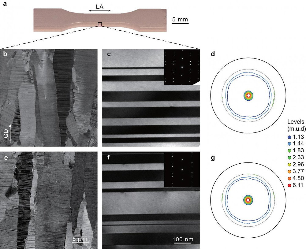 Researchers performed fatigue tests on 5mm samples of nanotwinned copper (top image). Electron microscope images show that the microstructure of the material before the tests (images b and c) were preserved after 17,000 loading cycles (e and f). The results show that nanotwinned can be far more resistant to fatigue than standard metals @ Pan, et. al.