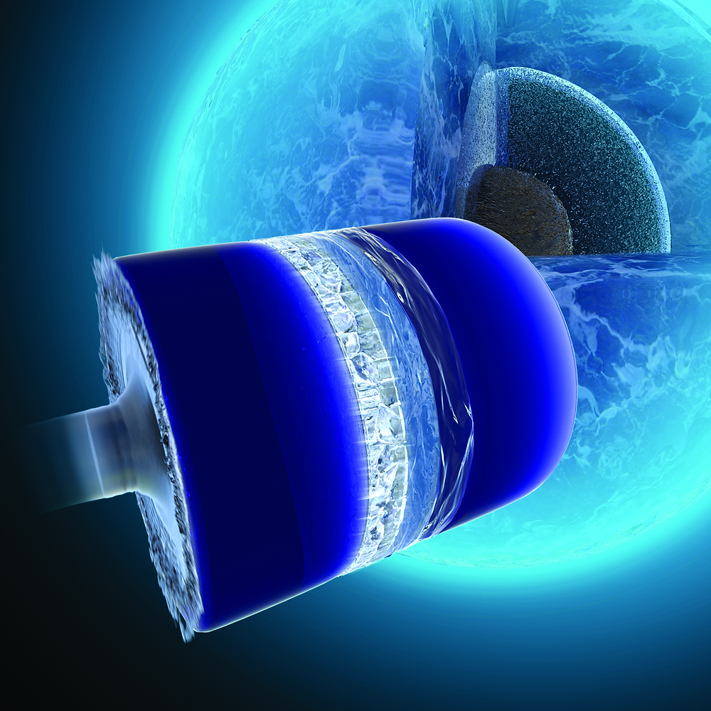 "Compression experiments allow liquid water to be driven to an extremely undercooled state and nucleate a high-pressure polymorph known as ice VII. Theoretical work at LLNL has revealed the detailed of the nucleation and growth kinetics of this solidification process. This unique phase of ice is believed to exist near the core of ""ocean world"" planets, recently detected by observation. @LLNL"