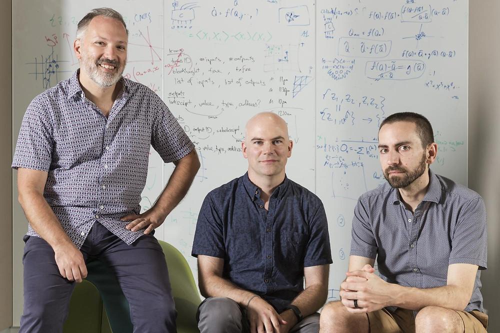(From left) This is Professor Stephen Bartlett, Associate Professor Steven Flammia and Mr David Tuckett at the University of Sydney's Nanoscience Hub.  @ Louise Cooper/University of Sydney