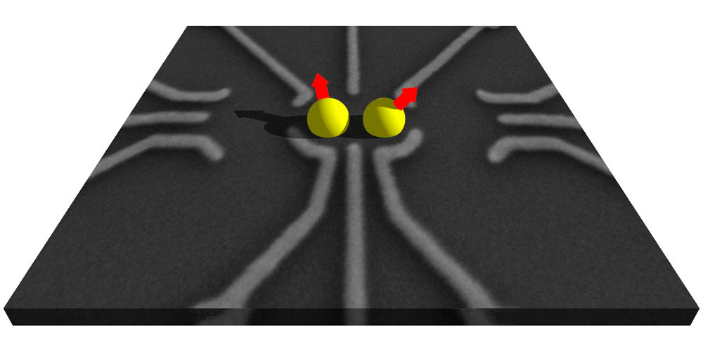 Double quantum dot: The three lower and upper contacts trap up to two individual electrons, the spin states of which form the quantum-mechanical information unit. The lateral contacts act as sensors. (Image: University of Basel, Department of Physics)
