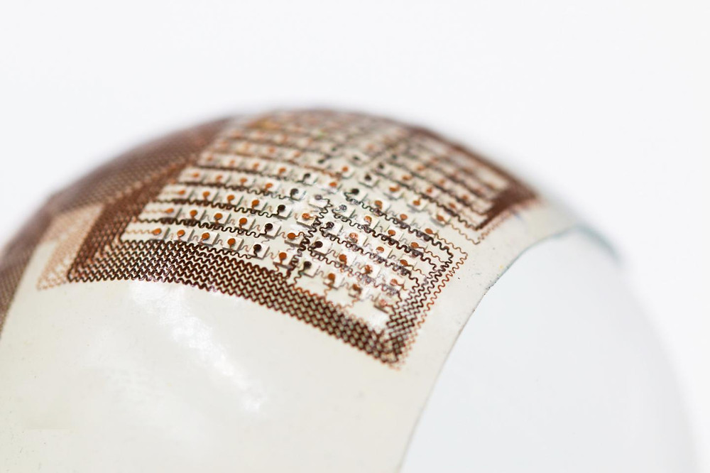 This stretchable, flexible ultrasound patch could make it easier to inspect damage deep inside odd-shaped structures, such as engine parts, turbines, reactor pipe elbows and railroad tracks--objects that are difficult to examine using conventional ultrasound equipment.  @ Hongjie Hu