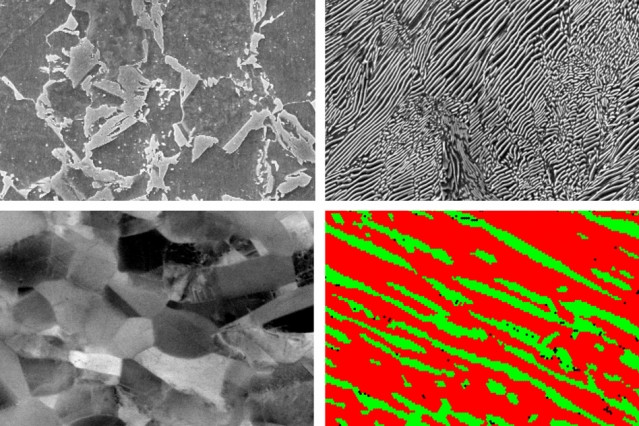 Researchers have developed a type of steel with three characteristics that help it resist microcracks that lead to fatigue failure: a layered nanostructure, a mixture of microstructural phases with different degrees of hardness, and a metastable composition. They compared samples of metal with just one or two of these key attributes (top left, top right, and bottom left) and with all three (bottom right). The metal alloy with all three attributes outperformed all the others in crack resistance.  Courtesy of the researchers