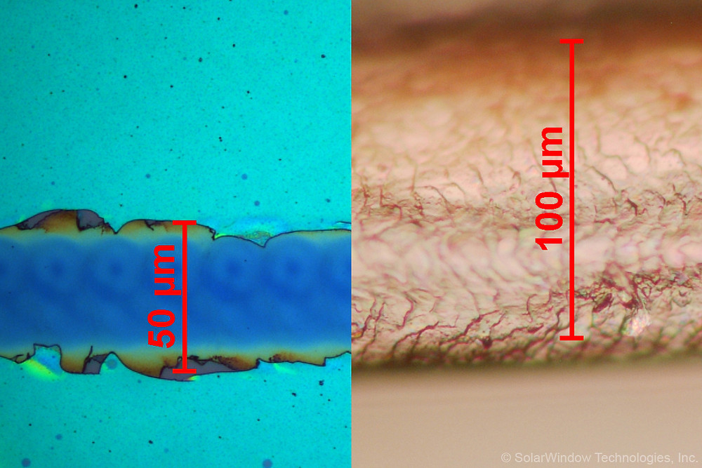 SolarWindow™ Transports Electricity Within Coatings Using Microscopic Channels (Left) That Are One-Half the Width of Human Hair (Right) (Photo: SolarWindow Technologies, Inc.)