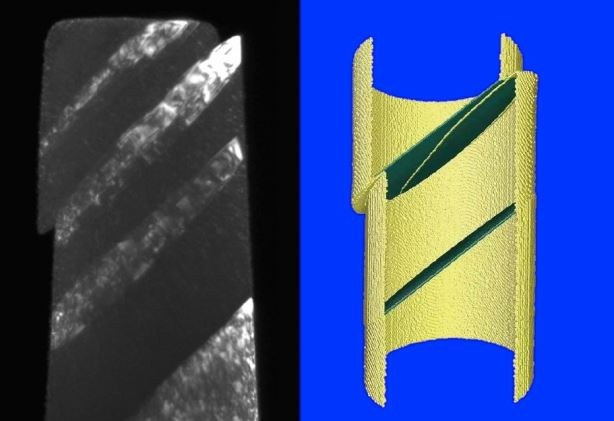 The sliding of a perfect twin boundary, with mirrored crystal lattices on both sides, was long considered to be impossible at room temperature in metals. Here, authors show that it is possible when a nanoscale twin boundary within a copper nanopillar is compressed along certain orientations, through in-situ transmission electron microscopy (left) and molecular dynamics simulation (right).  @  Zhang-Jie Wang, Qing-Jie Li, Ming Dao, Evan Ma, Subra Suresh, Zhi-Wei Shan