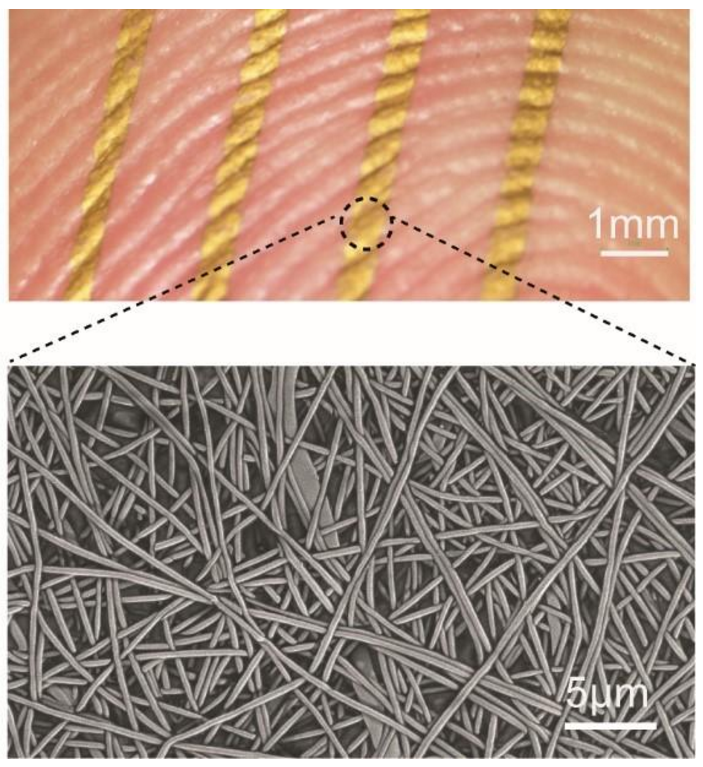 An array of nanomesh conductors attached to a fingertip, top, and a scanning electron microscope (SEM) image of a nanomesh conductor on a skin replica, bottom. @ 2017 Someya Laboratory.