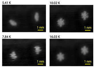 Images of a single molecule of dibutyl sulfide captured by a scanning-tunneling microscope (STM) at temperatures ranging from 5.41 degrees Kelvin (K) to 16.03 K. As the temperature increases, the molecule changes shape more quickly resulting in an image that captures multiple configurations of the molecule. The tip of the STM influences the ability of the molecule to make these changes in shape allowing researchers to measure the entropy of the system.  @ J.C. Gehrig, EMPA