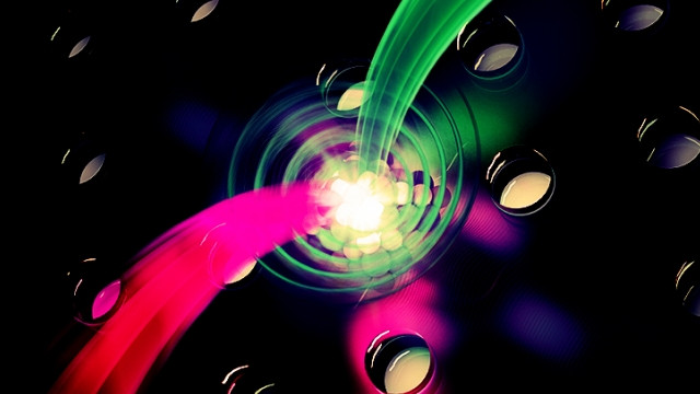 Artistic graphic depicting photon-spin interactions in a quantum dot. (Credit S.Kelley/JQI)