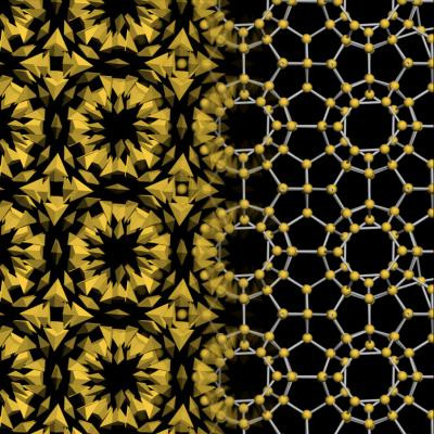 These are the gold nanoparticle bipyramids assembled into a complex crystal structure, known in chemistry as a clathrate. CREDIT Credit: Glotzer Group, University of Michigan. Copyright: Science