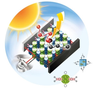 Organic solar cells made of metal-organic frameworks are highly efficient in produc-ing charge carriers. (Figure: Wöll/KIT)