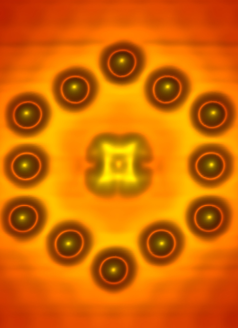 Scanning tunneling microscope image of a phthalocyanine molecule centered within a hexagon assembled from twelve indium atoms on an indium arsenide surface. The positively charged atoms provide the electrostatic gate of the single-molecule transistor.  (Photo: U.S. Naval Research Laboratory)