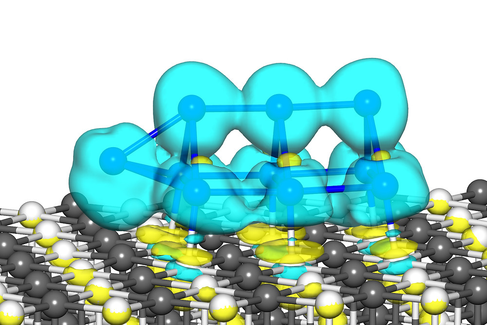 """Simulation shows a 10-atom platinum nanocatalyst cluster. The """"bulge"""" caused by the 10th atom gives the cluster improved catalytic properties. (Credit: Uzi Landman, Georgia Tech)"""