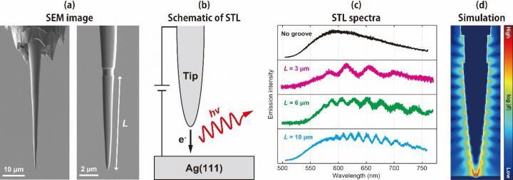 (a)	SEM images of a gold FIB-tip. A single groove is made at a distance (L) from the apex.  (b)	Schematic of STL measurement. Light emission (hv) occurs through excitation of LSPR in the junction by tunneling electrons (e-).  (c)	STL spectra obtained by FIB-tips. Spectral modulation is observed for the tips with a groove and the oscillation period depends on the groove distance.  (d)	Electrodynamic simulations of two-dimensional electric field mapping for the FIB-tip with a groove. Standing formation of SPP occurs on the tip shaft.  @ Takashi Kumagai