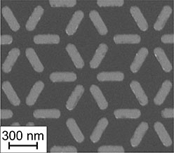 Electron microscopy image of a small fraction of the dipolar dice lattice. The spin ice structure consists of interacting ferromagnetic nanoislands. The experimental lattice consists of several thousand nanoislands and is fabricated by electron-beam lithography.