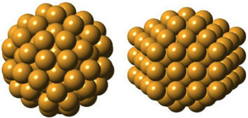 Setting out to confirm the predicted structure of Gold-144, researchers discovered an entirely unexpected atomic arrangement (right). The two structures, described in detail for the first time, each have 144 gold atoms, but are uniquely shaped, suggesting they also behave differently. (Image courtesy of Kirsten Ørnsbjerg Jensen)