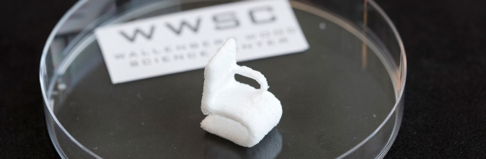 The tiny chair made of cellulose is a demonstrational object, printed using the 3D bioprinter at Chalmers University of Technology. Photo: Peter Widing