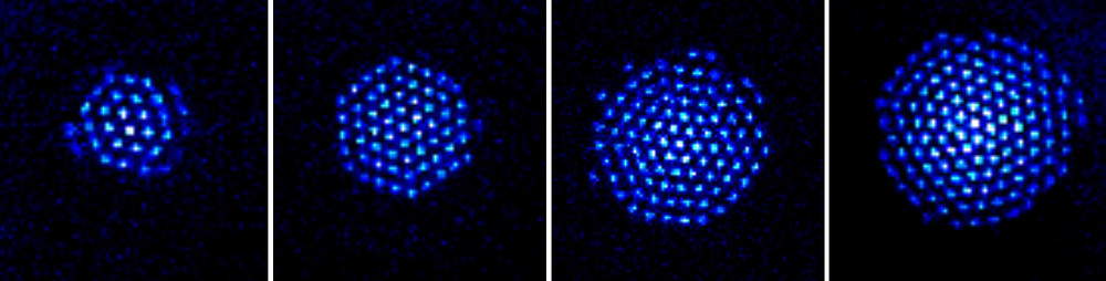NIST physicists have built a quantum simulator made of trapped beryllium ions (charged atoms) that are proven to be entangled, a quantum phenomenon linking the properties of all the particles. The spinning crystal, about 1 millimeter wide, can contain anywhere from 20 to several hundred ions. Credit: NIST