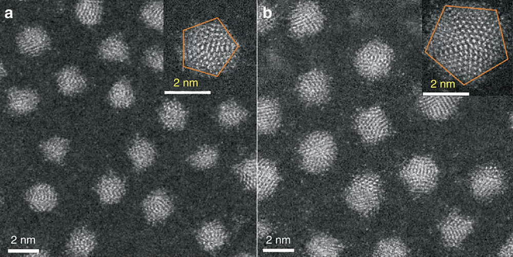 Scanning TEM and high-resolution TEM (inset) images of the as-prepared small (a) and large (b) 4-tert-butylbenzenethiolate-stabilized Ag nanoparticles. Scale bars, 2nm.