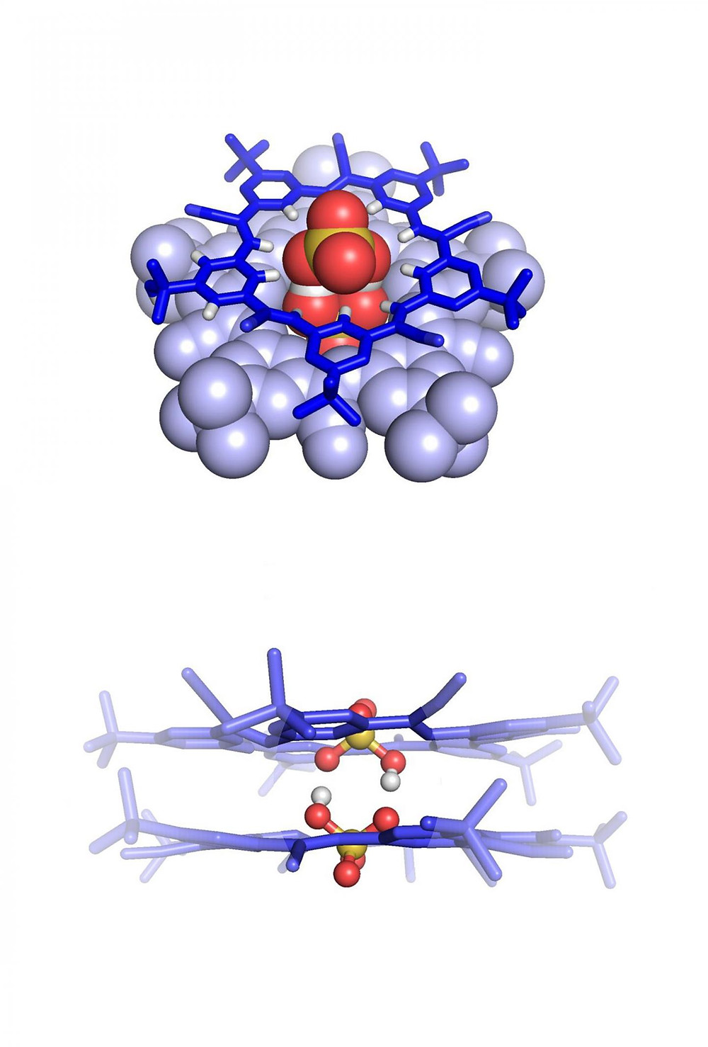 The bisulfate dimer as seen from the top down (upper image) and side (lower image). The two negatively charged molecules are connected by weak bonds made possible through encapsulation inside a pair of a star-shaped cyanostar macrocycles (blue), a molecule previously developed by Flood's lab at IU. @ Indiana University