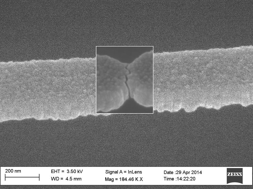 A nanogap created with the new method. (Image: courtesy of KTH)