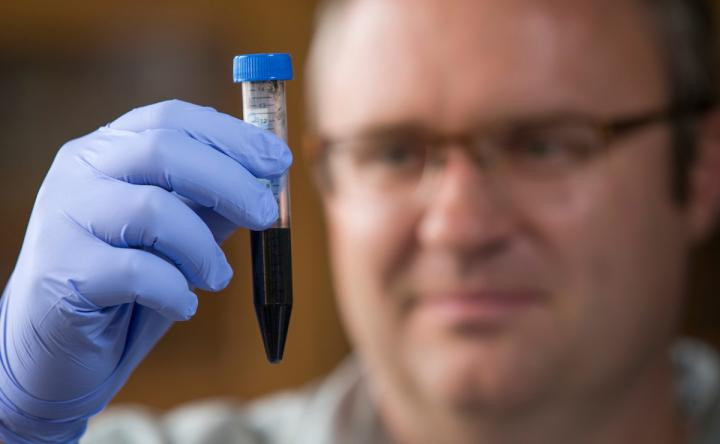 Jonathan Claussen and his research group are printing and processing graphene ink to make functional materials.  @ Christopher Gannon/Iowa State University
