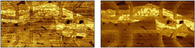 Local surface potential maps for synthetic air (left) and ambient air (right), with  the same relative humidity of 40%. The scan size is 6×3 micrometres squared.