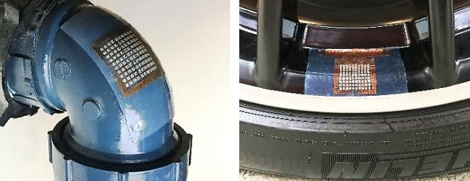 This stretchable, flexible ultrasound patch can easily conform to odd-shaped surfaces such as pipe elbows (left) and wheel edges (right)--objects that are difficult to probe with conventional ultrasound equipment.  @ Hongjie Hu