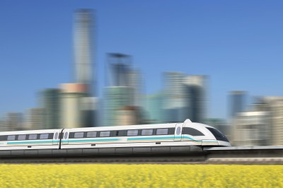 High speed maglev trains use superconductors to make the train hover above the track (Image from Shutterstock, cyo bo)