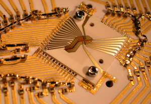 Ion trap used in NIST quantum computing experiments demonstrating logic operations with two different types of ions (charged atoms). One magnesium ion and one beryllium ion are trapped 4 micrometers apart near the cross-shaped opening at the center of both photos. The larger-scale photo shows the gold-on-alumina trap inside a case that protects against electrical interference.  Credit: Blakestad/NIST