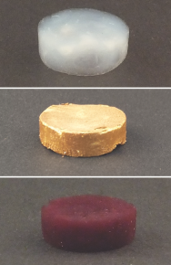 A foam of amyloid protein filaments without gold (above), with gold microparticles (middle) and gold nanoparticles (below). (Photo: Nyström G et al. Advanced Materials 2015)