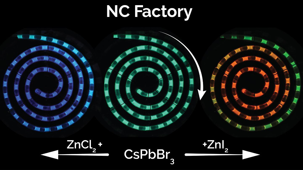 NC State researchers have developed a microfluidic system for synthesizing perovskite quantum dots that drastically reduces manufacturing costs, can be tuned on demand to any color and allows for real-time process monitoring to ensure quality control.  @ Milad Abolhasani, NC State University