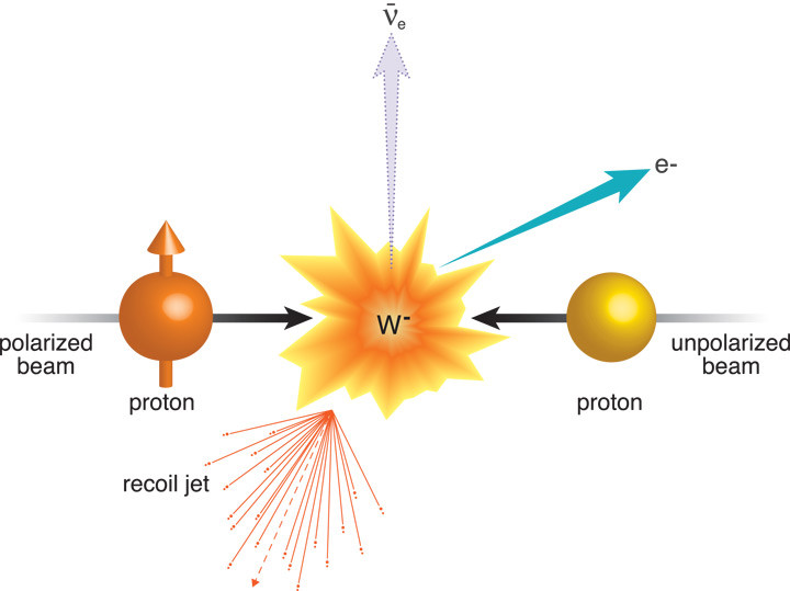 "RHIC physicists used collisions of protons with their spins aligned transverse (perpendicular) to their direction of motion (left) with an unpolarized proton beam (right) to search for the effects of the interaction between ""like"" color charges. They were looking for a lopsided production of particles called W bosons, but in the opposite direction to that observed by experiments measuring the effects of ""unlike"" color interactions. The scientists can't measure W particles directly because they decay quickly, in the case shown, into an electron (e) and a neutrino (ν)—another notoriously difficult-to-detect particle. Instead they track a jet of particles that recoil in the opposite direction as the neutrino disappears, and add their energy to the energy of the electron to reconstruct each W. So far these experiments at RHIC's STAR detector reveal a hint of this effect of the repulsive color interaction—a hint physicists hope to nail with future experiments."