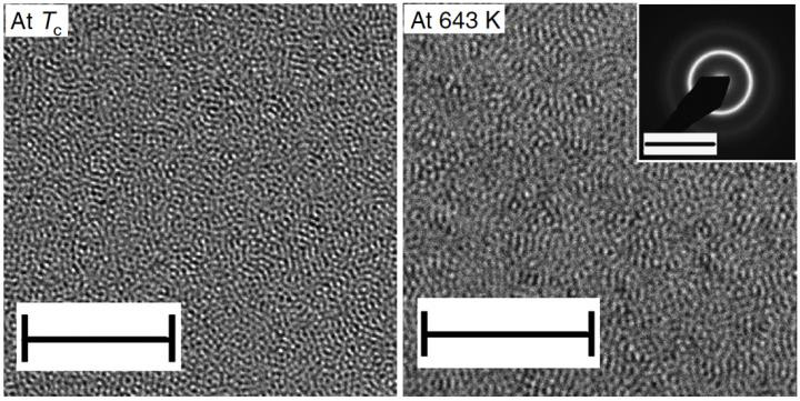 Transmission Electron Microscope (TEM) images of Pd-Ni-P metallic glass at different temperatures show the phase transition that involves structural changes in atomic clusters. (Scale bars=5nm). The inset on the right panel shows an electron diffraction pattern. @ Lan S. et al., Nature Communications, March 17, 2017