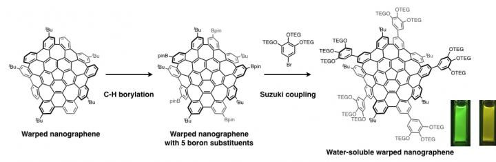 The warped nanographene undergoes C-H borylation to add boron moieties, followed by the Suzuki coupling to add water-soluble chains to the molecule (TEG = tetra(ethylene) glycol). Photo images of an ultraviolet irradiated quartz cell containing the water-soluble warped nanographene dissolved in various solvents (dichloromethane: green and water: yellow fluorescence).  @ ITbM, Nagoya University