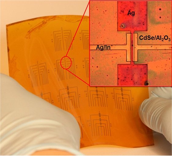 Because this process works at relatively low temperatures, many transistors can be made on a flexible backing at once.