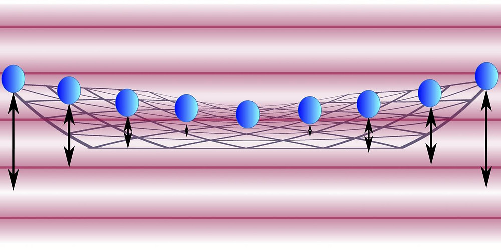 This is an illustration of vibrating beryllium ions (electrically charged atoms) trapped in a crystal formation. NIST researchers cooled and slowed these 'drumhead' vibrations to nearly motionless.  @ Jordan/NIST