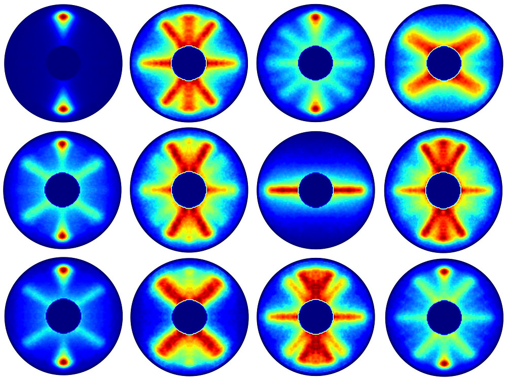 Steps of the molecule's rotation, recorded with an average gap of seven picoseconds each. Credit: DESY, Evangelos Karamatskos