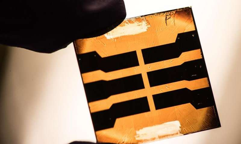 A lead sulfide quantum dot solar cell developed by researchers at NREL. Photo by Dennis Schroeder.
