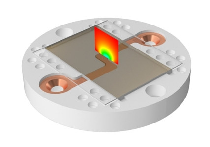 The image shows a quartz surface above the electrodes used to trap atoms. The color map on the surface shows the electric field amplitude.