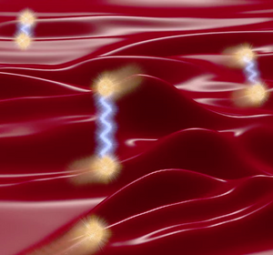 Heat conduction originates from both particle-like diffusion of phonon wave-packets (blurred spheres, following the realistic 3D phonon dispersion of CsPbBr3) and wave-like tunneling (blue waves). Tunneling emerges when the spacings between phonon branches (Lorentzian-shaped ridges, whose heights quantify the heat carried) become comparable to their line-widths (proportional to the widths of the ridges).   @ Michele Simoncelli, EPFL