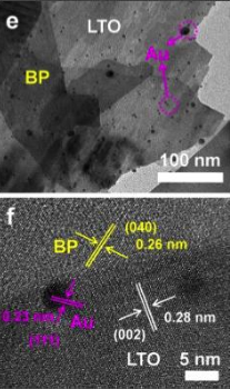 These are electron microscope images of visible-NIR light responsible photocatalyst composed with black phosphorous (BP), lanthanum titanate (LA2Ti2O7, LTO), and gold nanoparticles (Au). @ Zhu M, Cai X, Fujitsuka M, Zhang J, Majima T, Angewandte Chemie: International Edition 56 (2017), doi: 10.1002/anie.201612315