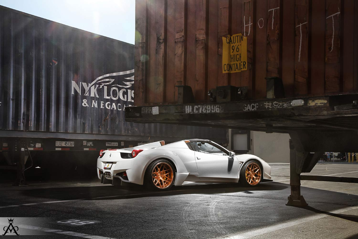 vad design premier forged alloy wheels and aero styling ferrari 458 spider wide body fitted with aristo sport 14 rose gold - Ferrari 458 Gold Wheels