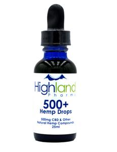 Highland Pharms 500mg CBD Hemp Oil Drops organically grown