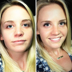 Before and After of Brooke's Eyelash Extensions! They totally enhanced her eyes!!! NO MASCARA! NO MA